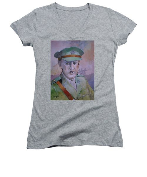 Women's V-Neck T-Shirt (Junior Cut) featuring the painting Hugo Throssel Vc by Ray Agius