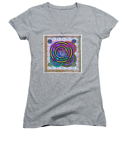 Hula Hoop Circles Tubes Girls Games Abstract Colorful Wallart Interior Decorations Artwork By Navinj Women's V-Neck T-Shirt (Junior Cut) by Navin Joshi