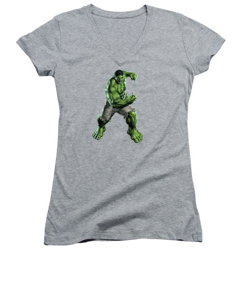 Women's V-Neck T-Shirt (Junior Cut) featuring the mixed media Hulk Splash Super Hero Series by Movie Poster Prints