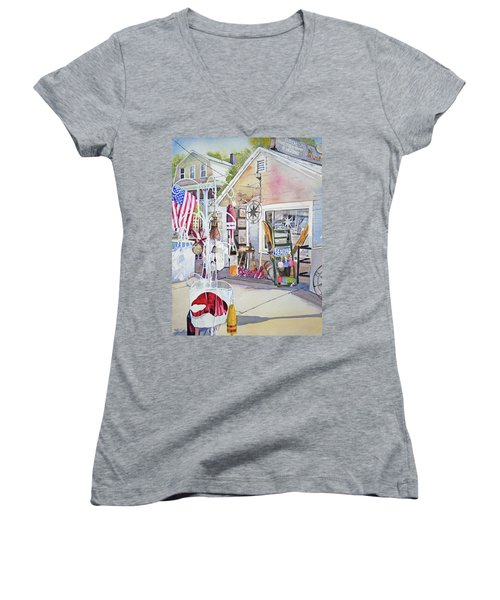 Hull Of A Shoppe Women's V-Neck T-Shirt (Junior Cut) by P Anthony Visco