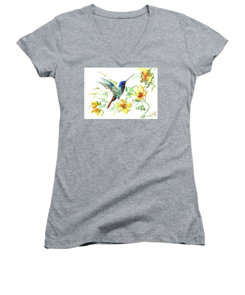 Hummibgbird And Yellow Flowers Women's V-Neck (Athletic Fit)