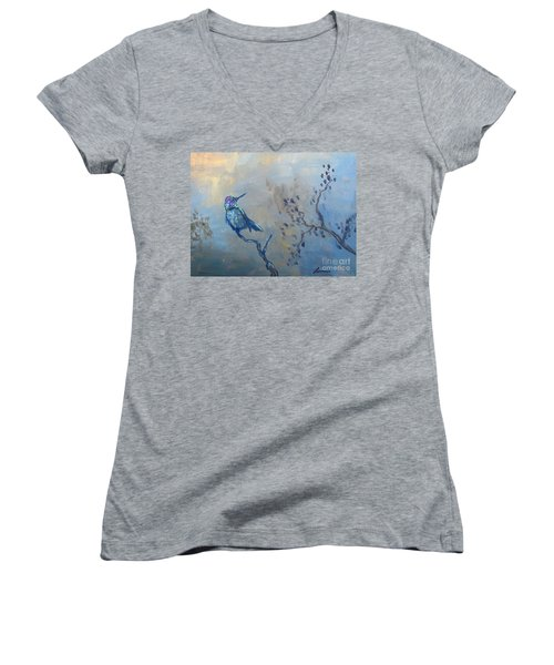 Humming Bird Women's V-Neck T-Shirt (Junior Cut) by Laurianna Taylor
