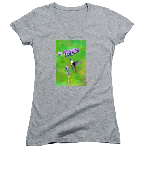 Women's V-Neck T-Shirt (Junior Cut) featuring the photograph Humming Bird Visit by Lila Fisher-Wenzel