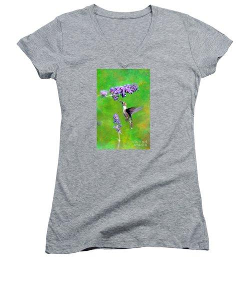 Humming Bird Visit Women's V-Neck T-Shirt