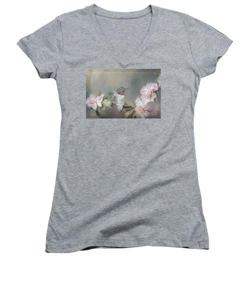 Hummingbird And Blossoms Women's V-Neck