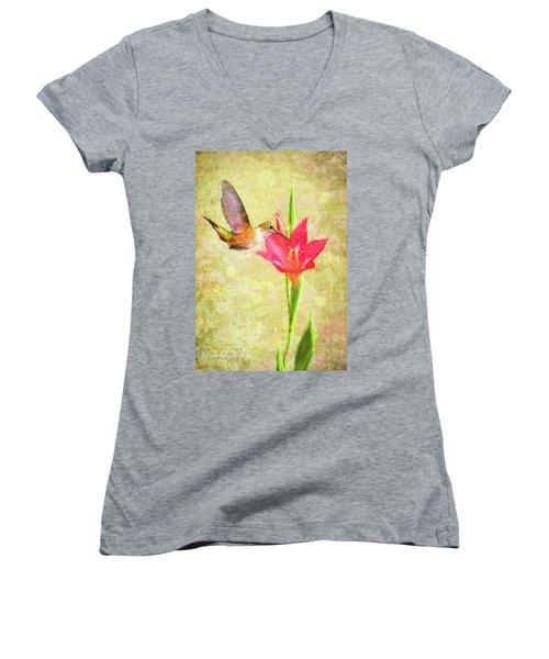 Women's V-Neck T-Shirt (Junior Cut) featuring the digital art Hummingbird And Flower by Christina Lihani