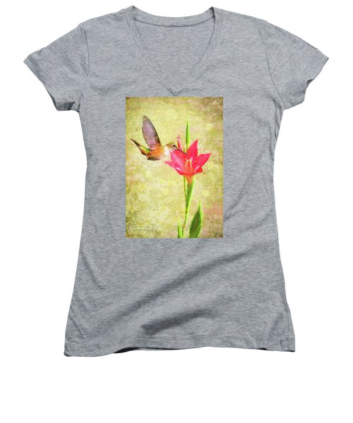 Hummingbird And Flower Women's V-Neck (Athletic Fit)