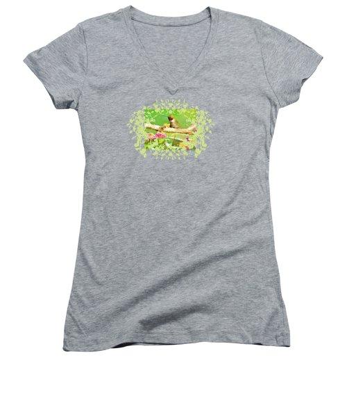 Hummingbird Attitude T - Shirt Designe Women's V-Neck T-Shirt