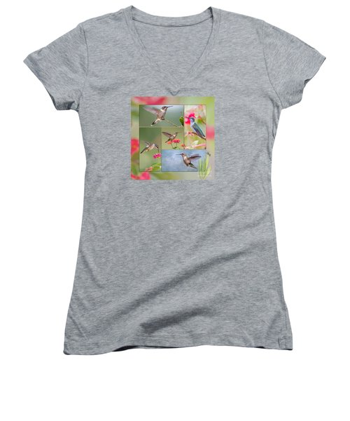 Hummingbird Collage Women's V-Neck T-Shirt (Junior Cut) by Bonnie Barry