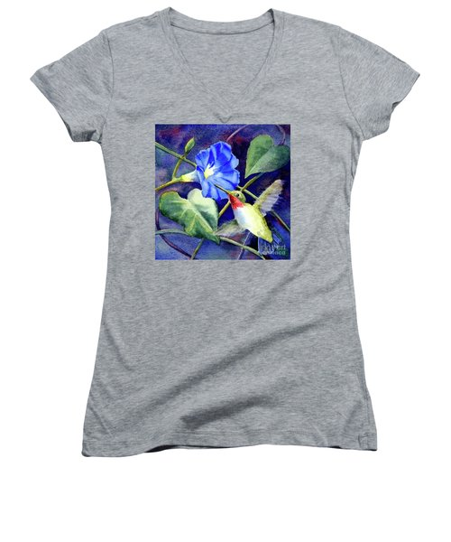 Women's V-Neck T-Shirt (Junior Cut) featuring the painting Hummingbird Delight by Bonnie Rinier