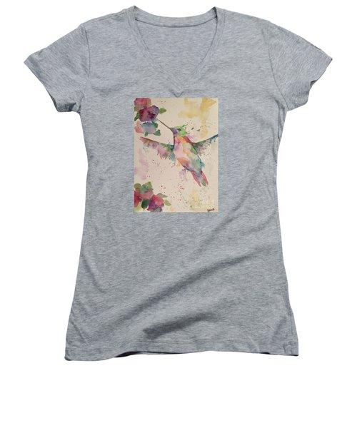 Women's V-Neck T-Shirt (Junior Cut) featuring the painting Hummingbird by Denise Tomasura