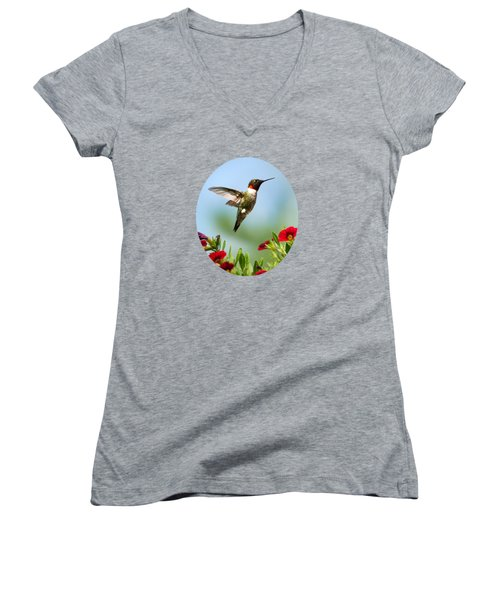 Hummingbird Frolic With Flowers Women's V-Neck T-Shirt (Junior Cut) by Christina Rollo