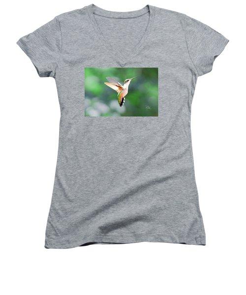Women's V-Neck T-Shirt (Junior Cut) featuring the photograph Hummingbird Hovering by Meta Gatschenberger