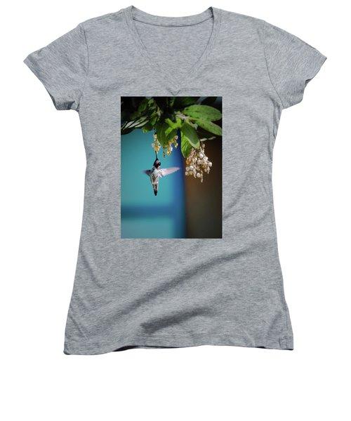 Hummingbird Moment Women's V-Neck T-Shirt (Junior Cut) by Mark Dunton