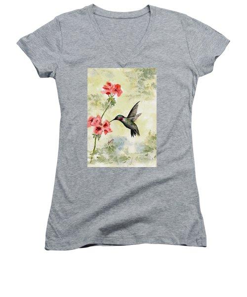 Hummingbird Women's V-Neck T-Shirt (Junior Cut) by Sam Sidders