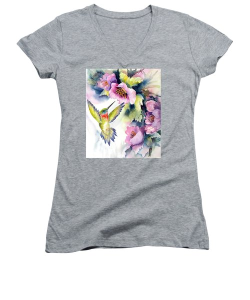 Hummingbird With Pink Flowers Women's V-Neck
