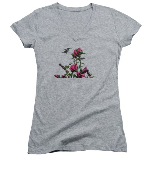 Hummingbird With Rose Of Sharon Women's V-Neck T-Shirt (Junior Cut) by Photographic Arts And Design Studio