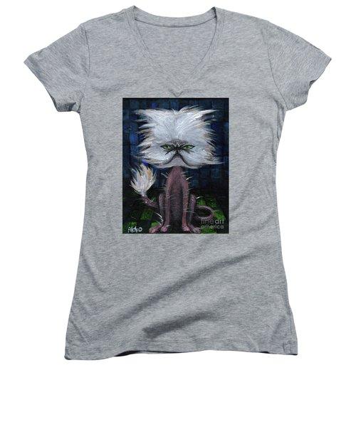 Humorous Cat Women's V-Neck T-Shirt
