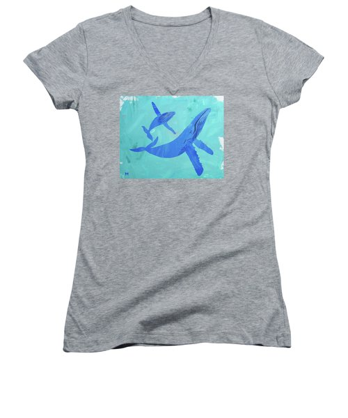 Humpback Whales Women's V-Neck