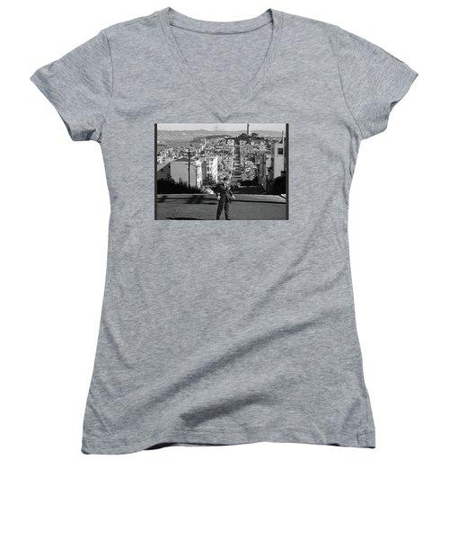 Humphrey Bogart Film Noir Dark Passage Telegraph Hill And Coit Tower San Francisco 1947 Women's V-Neck