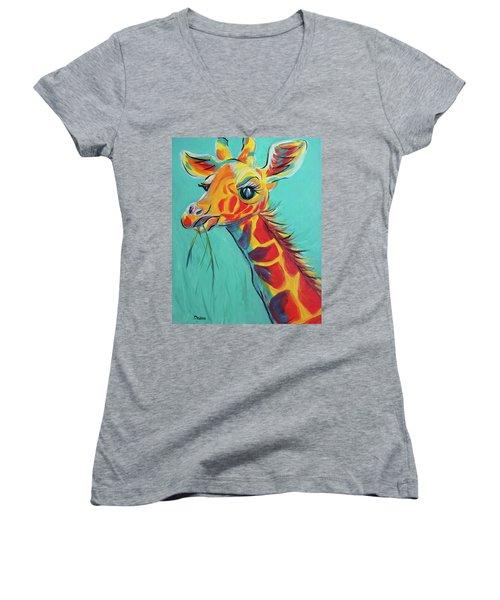 Hungry Giraffe Women's V-Neck T-Shirt