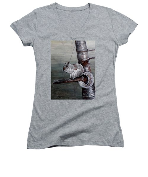 Women's V-Neck T-Shirt (Junior Cut) featuring the painting Hungry Squirrel by Judy Kirouac