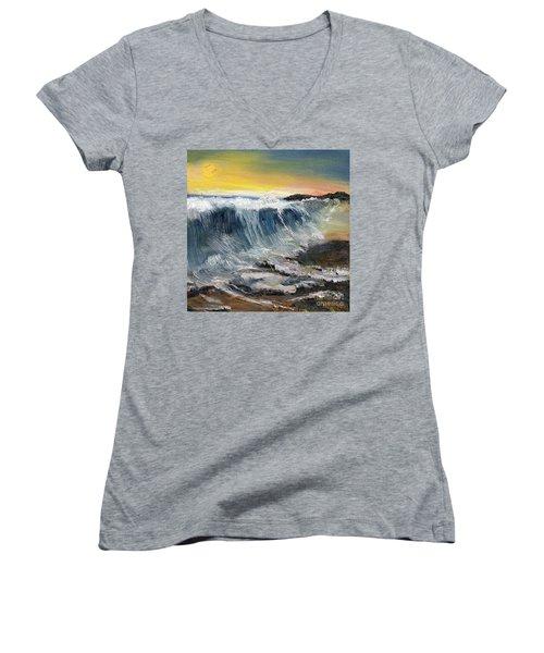 Hunter's Moon Women's V-Neck T-Shirt (Junior Cut) by Randy Sprout