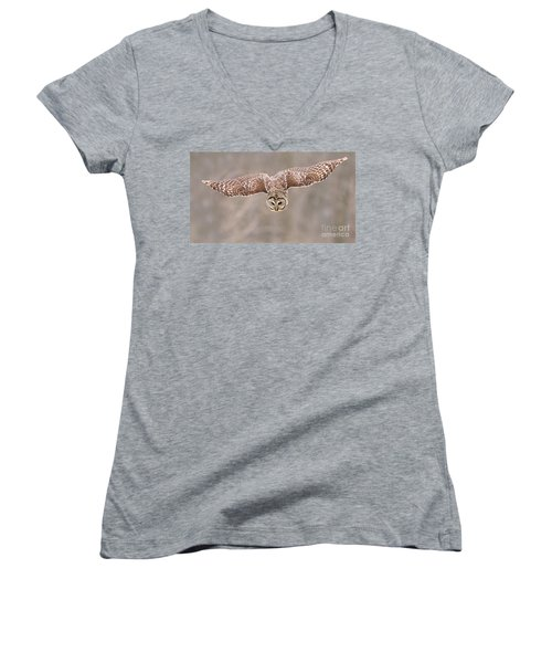 Hunting Barred Owl  Women's V-Neck (Athletic Fit)