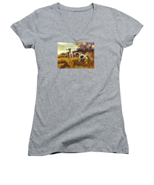 Women's V-Neck T-Shirt (Junior Cut) featuring the digital art Hunting Dogs No1 by Charmaine Zoe