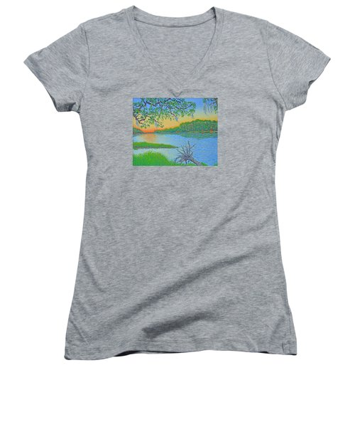 Women's V-Neck T-Shirt (Junior Cut) featuring the painting Hunting Island Lagoon 2 by Dwain Ray