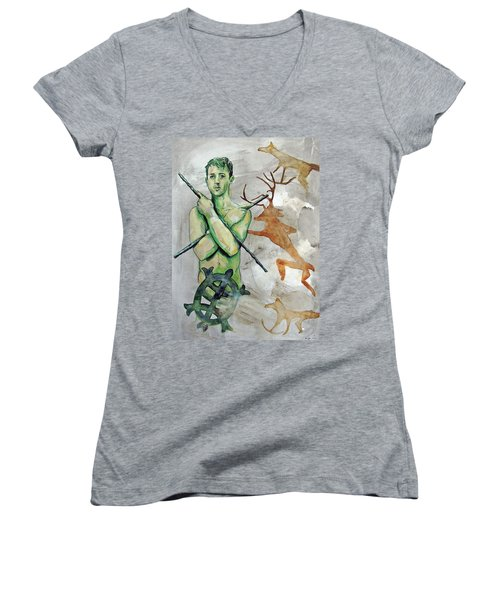 Youth Hunting Turtles Women's V-Neck T-Shirt