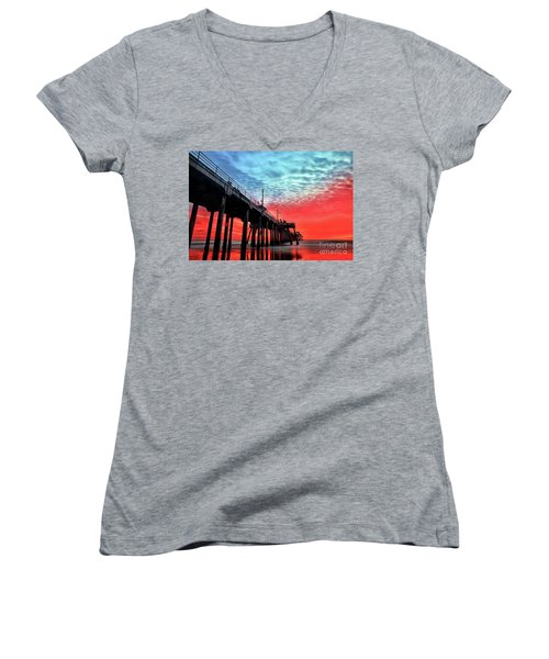 Huntington Beach Pier Sunset Women's V-Neck (Athletic Fit)