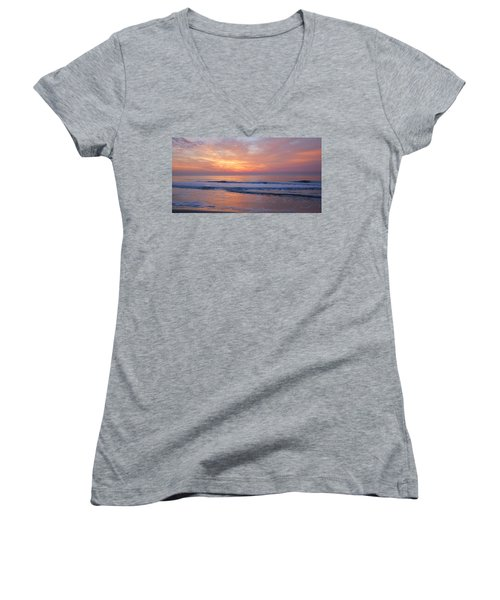 Huntington Beach Sunrise, Nc Women's V-Neck T-Shirt (Junior Cut) by Alan Lenk