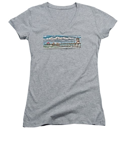 Huntington Beach Winter 2017 Women's V-Neck T-Shirt (Junior Cut) by Jim Carrell