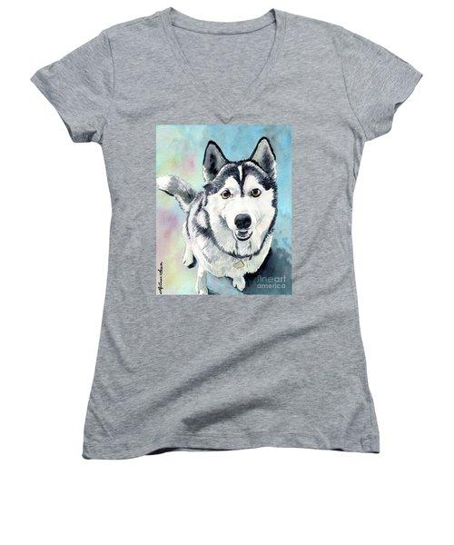 Husky Dog Love, Husky Painting, Husky Print, Dog Painting, Dog Print Women's V-Neck (Athletic Fit)