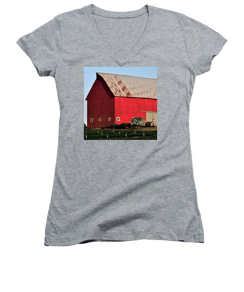 Hwy 47 Red Barn 21x21 Women's V-Neck