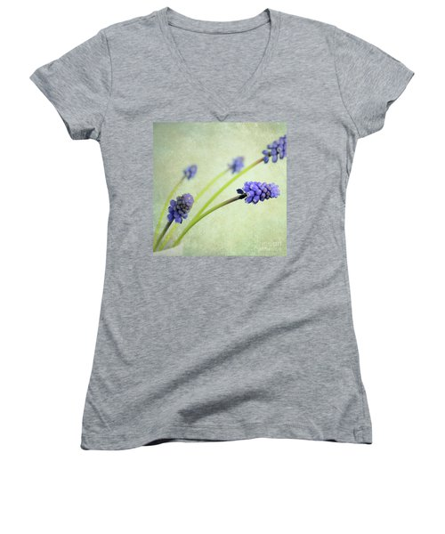 Hyacinth Grape Women's V-Neck T-Shirt (Junior Cut) by Lyn Randle