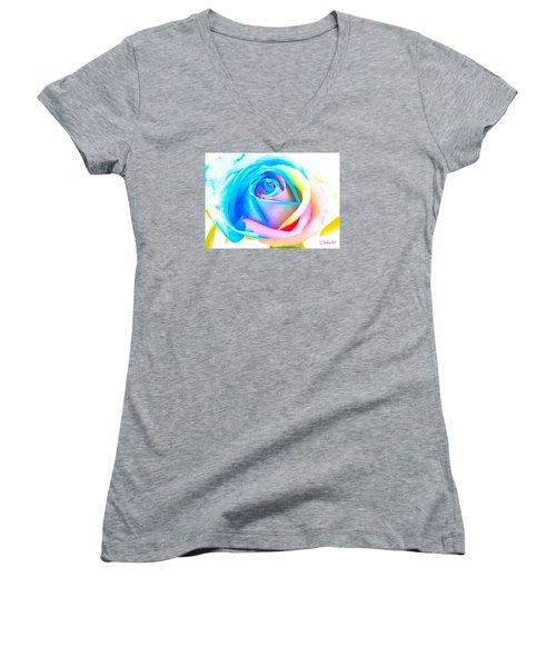 Rainbow Rose Women's V-Neck