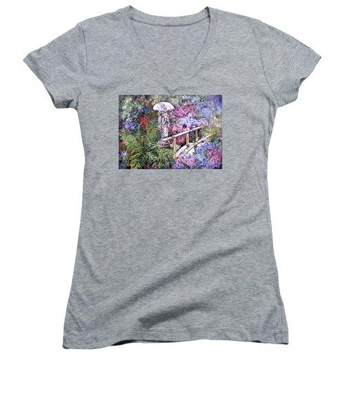 Hydrangea In The Formosa Gardens Women's V-Neck