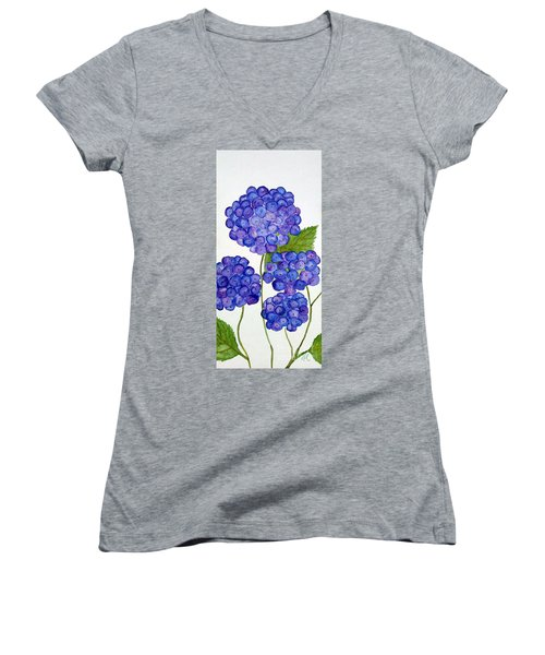 Women's V-Neck T-Shirt (Junior Cut) featuring the painting Hydrangea by Reina Resto