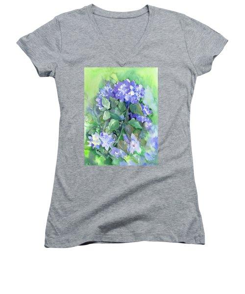 Hydrangea Women's V-Neck T-Shirt (Junior Cut) by Suren Nersisyan