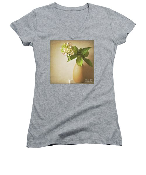 Hydrangea With Leaves Women's V-Neck (Athletic Fit)