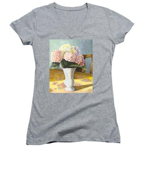 Hydrangeas Women's V-Neck