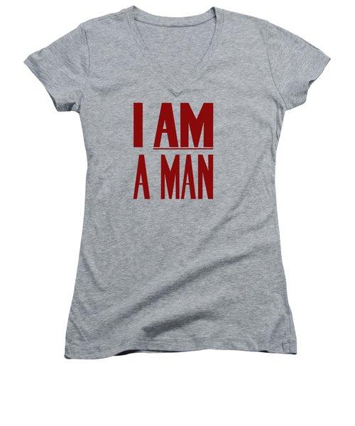 I Am A Man - Civil Rights Print Women's V-Neck (Athletic Fit)