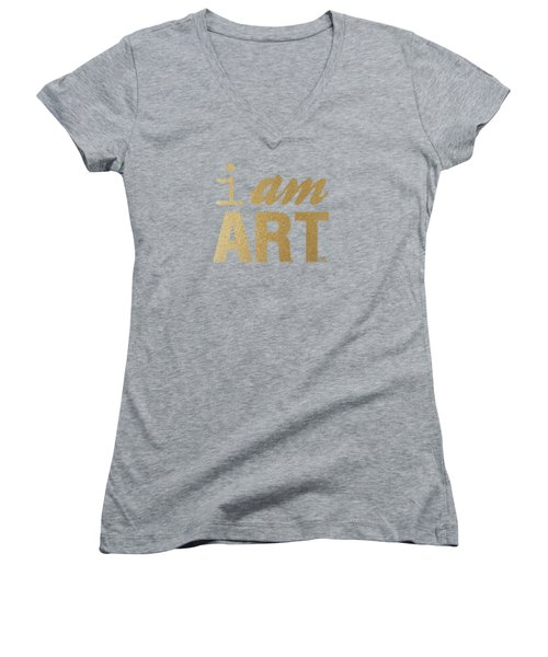 Women's V-Neck T-Shirt (Junior Cut) featuring the mixed media I Am Art- Gold by Linda Woods