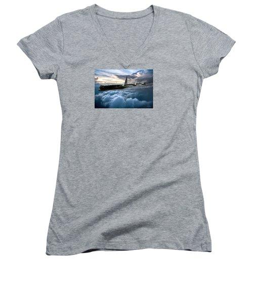 I Am Legend B-52 Women's V-Neck T-Shirt (Junior Cut) by Peter Chilelli