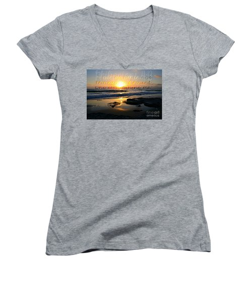 I Can Do All Things... Women's V-Neck T-Shirt (Junior Cut) by Sharon Soberon