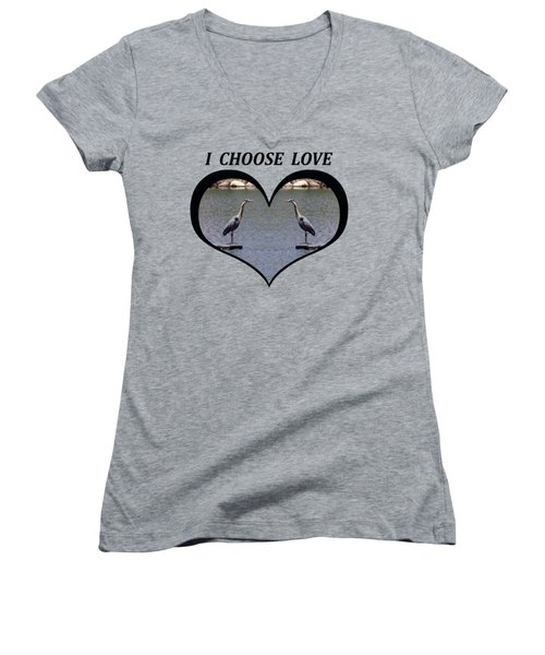 I Chose Love With A Heart Framing Blue Herons On A Pond Women's V-Neck T-Shirt (Junior Cut) by Julia L Wright
