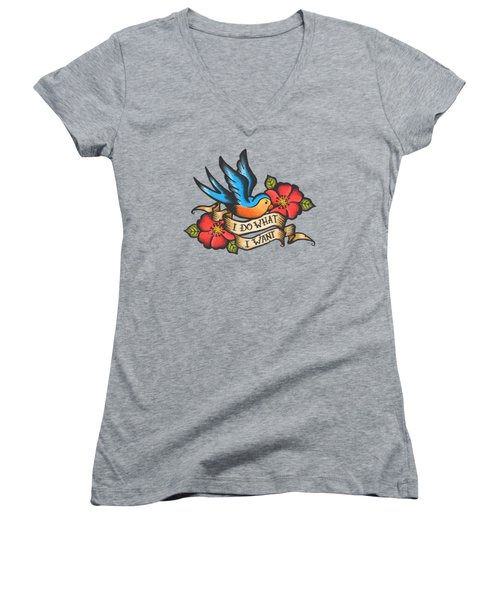 I Do What I Want Vintage Bluebird And Rose Tattoo Women's V-Neck T-Shirt (Junior Cut) by Little Bunny Sunshine