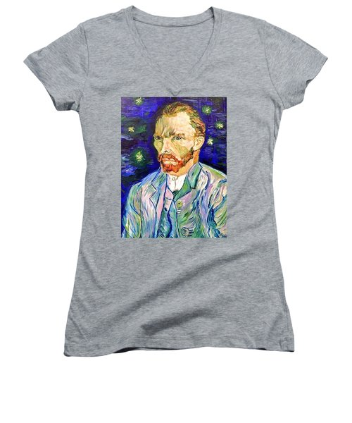 Women's V-Neck T-Shirt (Junior Cut) featuring the painting I Dream My Painting And I Paint My Dream by Belinda Low